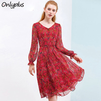 Onlyplus 2019 Spring Red Chiffon Dress Women Autumn Casual Slim Printed Party Dresses V Neck Long Sleeve Belt Fairy Dress