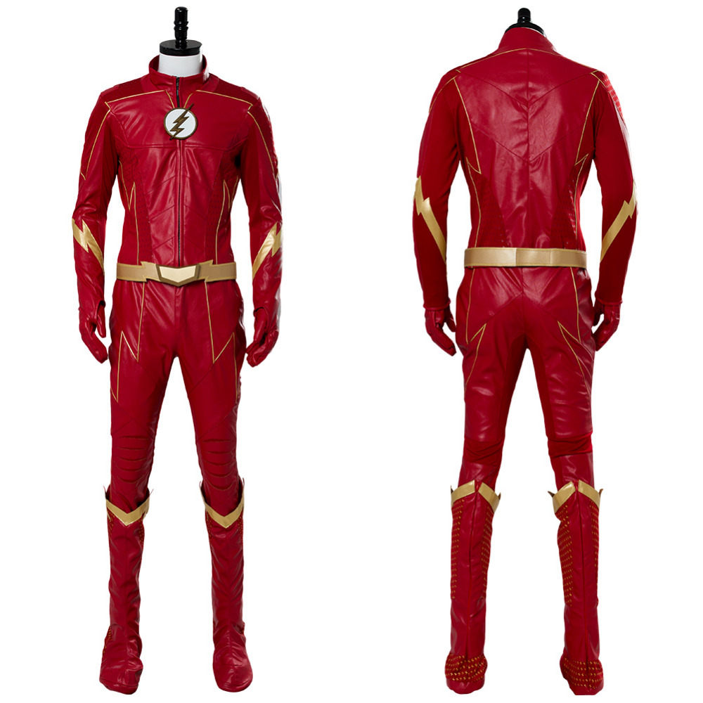 The Flash Season 4 Barry Allen Flash Cosplay Costume Adult Men Barry Allen Mask Red Outfit Halloween Cosplay Costume