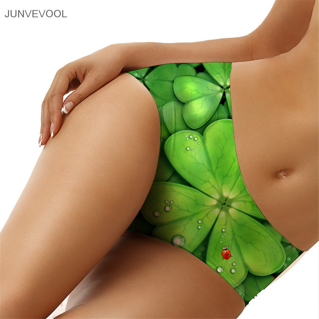 3D Animal Women Lucky Clover Print Briefs Sexy Intimates Women's Bikini Underwear Seamless Ladies Lingerie Underpants Plus Size