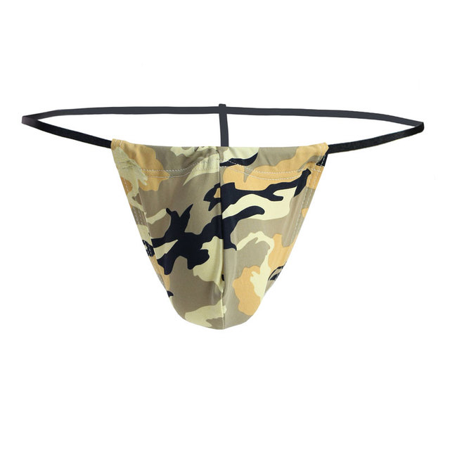 3ca066a702 Sexy Men s Camouflage Thongs Mini Bikinis Underwear Big U Convex Pouch Thong  Enhance Bulge T-back Male G-String Gay Wear F5