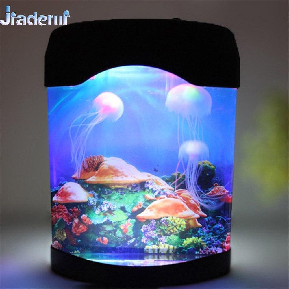 Jiaderui LED multicolore veilleuse lampes méduse réservoir mer monde natation humeur lampes Aquarium nuit lumières chambre décor lumières