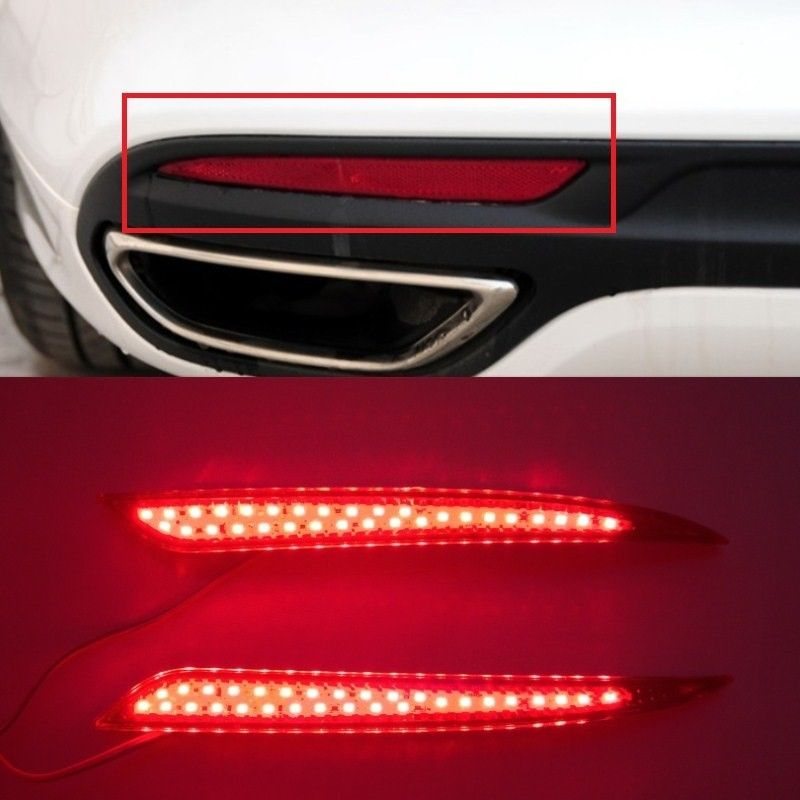 For 2013 2014 2015 Red lens LED Rear Bumper Reflector Light Lamp