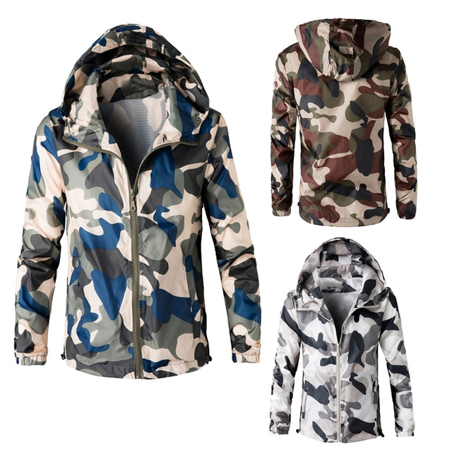 3c7657c44f1a2 Military Outdoors Jacket Mens Autumn Winter Army Tactical Jacket Fashion  Camo Hooded Windbreaker Camouflage Coat Plus