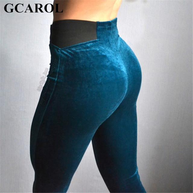 Gcarol mujeres nuevo estilo retro de la manera de terciopelo lápiz pantalones de cintura elástica stretch velvet legging altura del tobillo pantalones