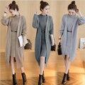 Larga chaqueta de Punto traje de Dos piezas de Las Mujeres Suéteres de moda de invierno de la capa caliente Pullover Cardigan Abierto stitch Caliente