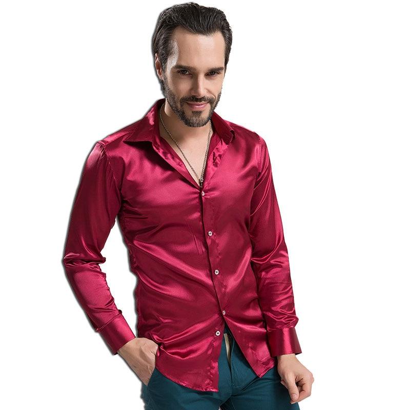 Сорочка нареченого Мода шовковиста атласна сорочка розкоші чоловіча довга рукава весільна сорочка тонкий штучний шовк сорочки