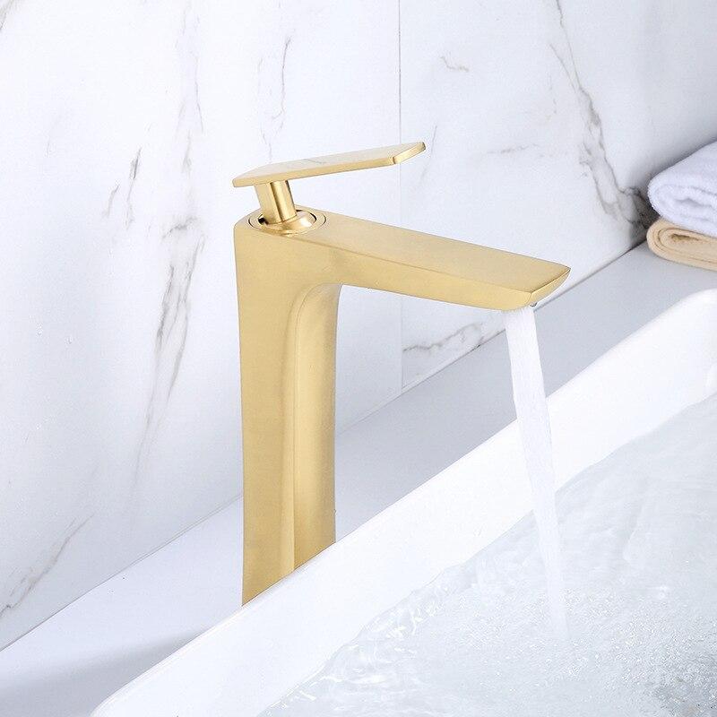 Кран для раковины ванной комнаты матовый золотой кран с одной ручкой кран для раковины Grifo Lavabo кран для мытья горячей и холодной воды
