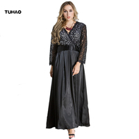 TUHAO 2017 New Winter Autumn Formal Lace Dress Women Hollow Out Elegant High Waist Plus Size