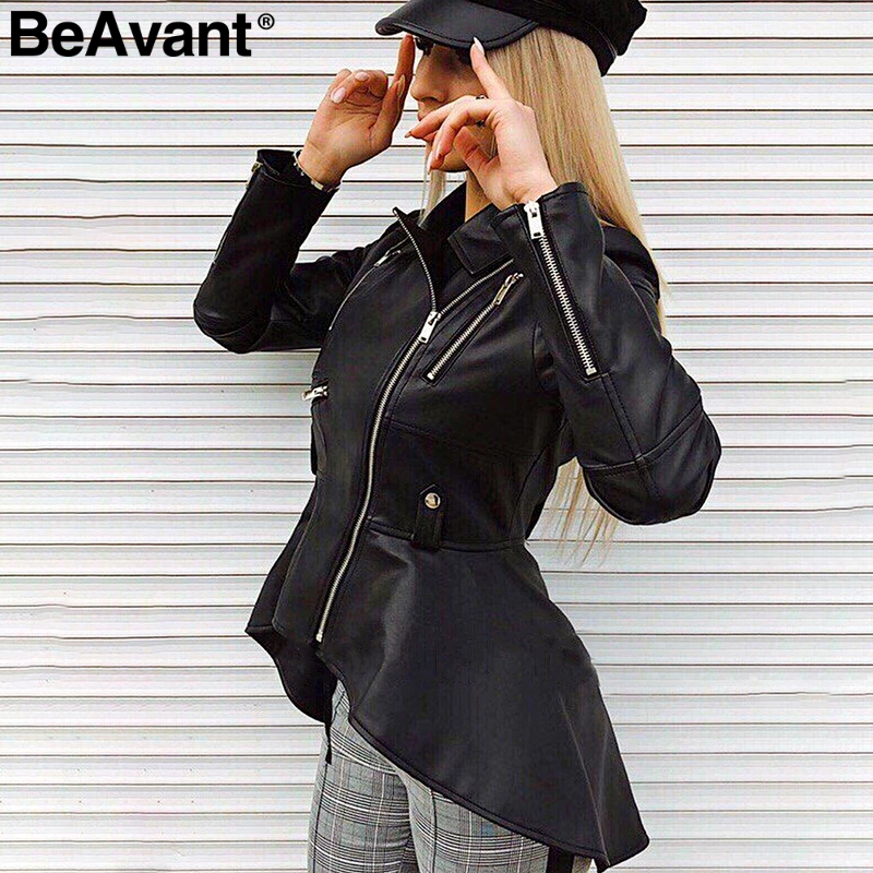 BeAvant Faux leather PU jackets coats 2018 Autumn winter coats female jackets Women casual zipper streetwear black jackets femme
