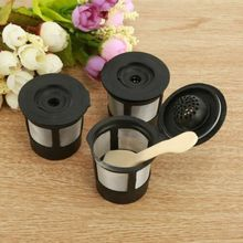 3 piece Reusable Refillable K-Cup Coffee Filter Pod for Keurig K50 and K55 Makers