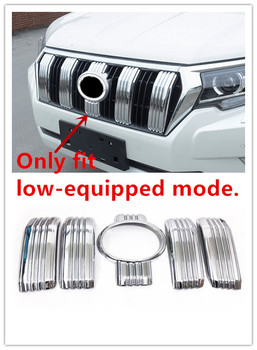 For Low-equipped Model! For Toyota Land Cruiser Prado FJ150 2018 ABS Chrome Front Center Grille Grill Cover Molding Trim 5pcs