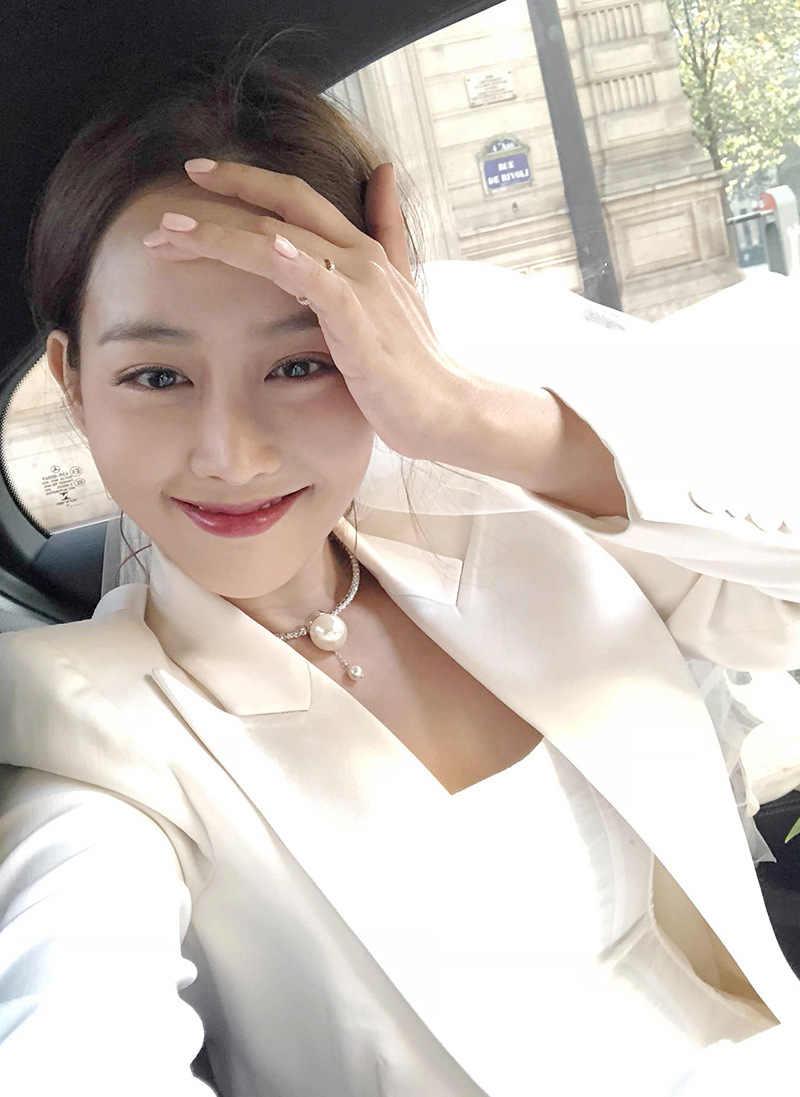 Coreano Moda Mulheres Colar Gargantilha Big Simulado Pérola Jóias Declaração Collares Pingentes Elegante Presente de Aniversário