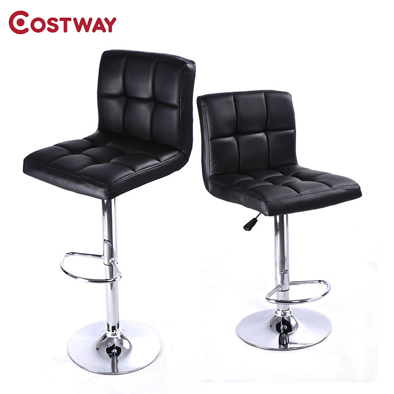 COSTWAY 2pcs PU Leather Modern Adjustable Bar Stool Swivel Chair Bar Chair Commercial Furniture Bar Tool