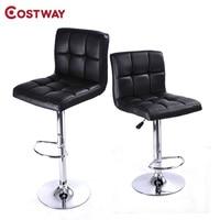 COSTWAY 2pcs PU Leather Modern Adjustable Bar Stool Swivel Chair Bar Chair Commercial Furniture Bar Tool HW50129