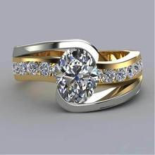 Fashion New Design Oval Zircon Rings Two-tone Yellow Gold&White Gold Color Party Jewelry Ladies Gifts