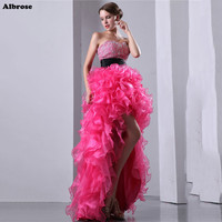 Sexy High Low Evening Dress Crystals Rose Red Organza Evening Dresses Beaded Sequined Chic Formal Dress Elegant robe soiree