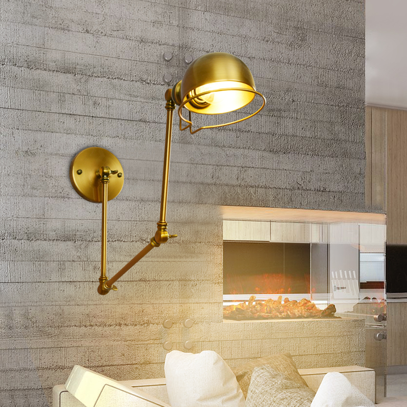 American industry retro wall lamp creative expansion long arm swing dining room reading bedside wall lamp modern american country retro mirror front wall light creative bedside bedroom living room study long arm wall lamp