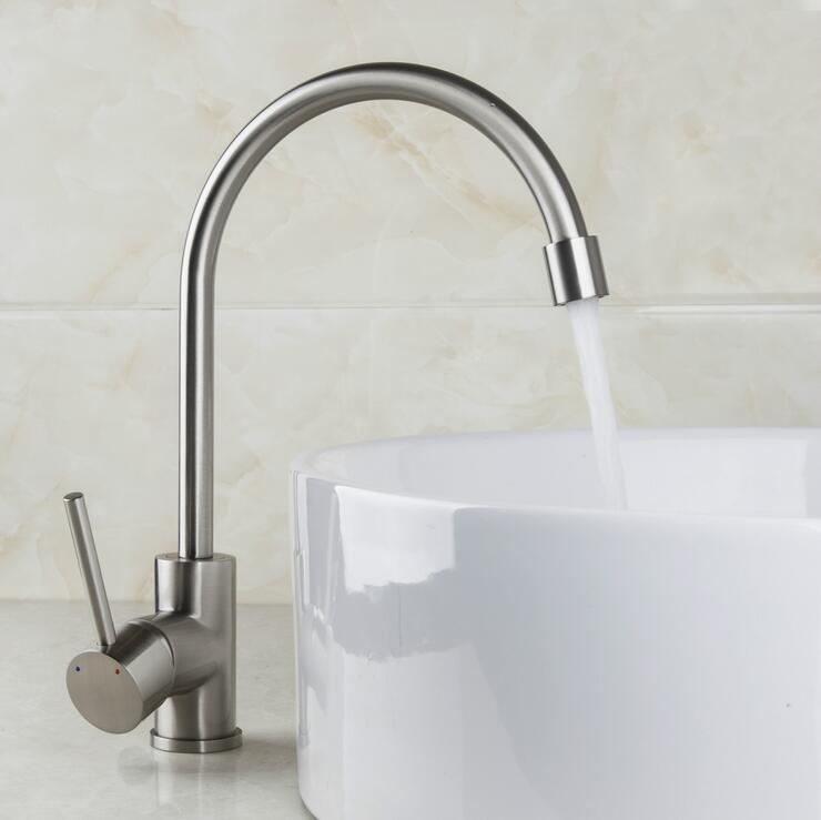 Rotated Kitchen Sink Basin Faucet Brushed, Water Wash Basin Faucet Mixer Pull Out, Copper Kitchen Dish Basin Faucet Hot And Cold