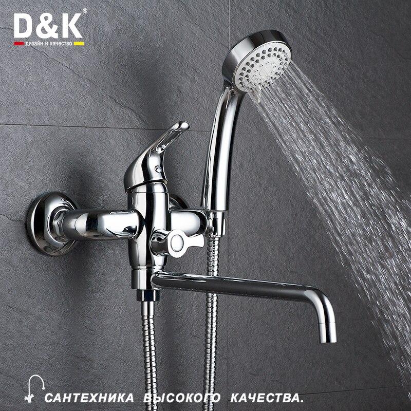 D&K 1set Wall Mounted Antique Brass Gold Plated Bathtub Faucet With Hand Shower Bathroom Bath Shower Faucets Torneira DA1373301