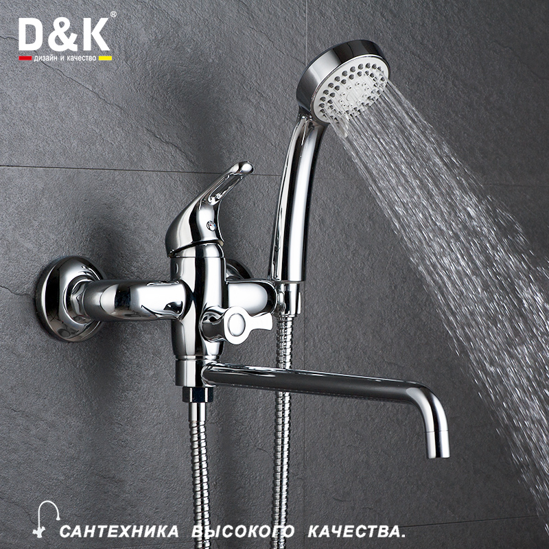 D&K 1set Wall Mounted Antique Brass Gold Plated Bathtub Faucet With Hand Shower Bathroom Bath Shower Faucets Torneira DA1373301