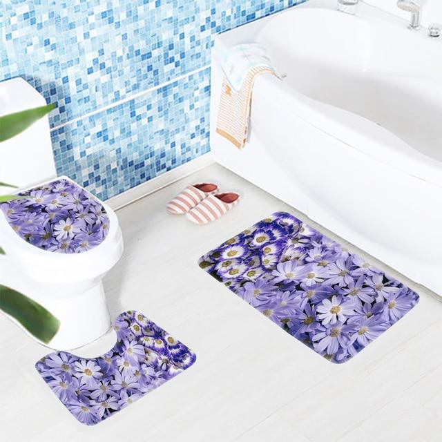 3 Stücke Badematte Set Blume Lila Gänseblümchen Daisy Muster Badezimmer  Matte Anti Slip Bath Teppich Und