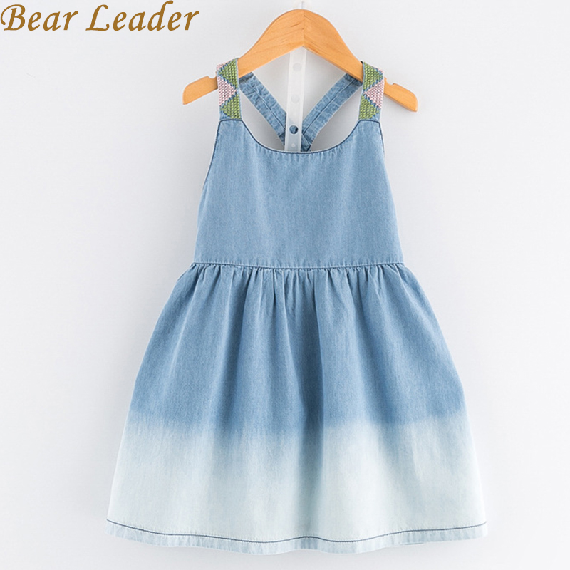 Bear Leader Girls Denim Dress 2018 New Summer Dress European and American Style Kids Dress Children Clothing 3-7Y Girls Clothes 2 7y girls clothing summer girl dress children kids berry dress back v dress girls cotton kids vest dress children clothes 2017