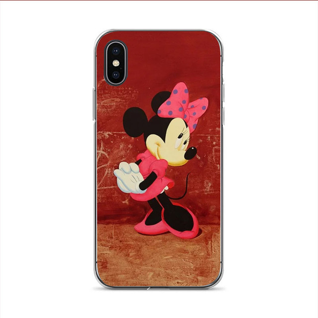 Kissing Lovers Mickey Minnie Mouse Plastic soft Phone Case cover Shell for iPhone X 7 5 5S 6 6S Plus 8 XS XR XSmax 7 8plus Cover