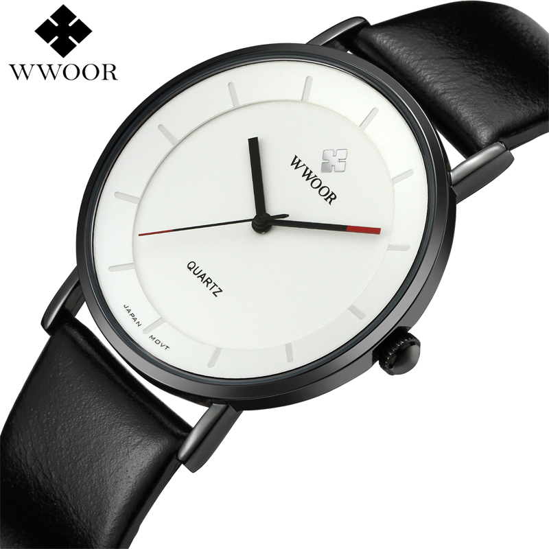 WWOOR Brand Luxury Simple Slim Men's Quartz Watch Waterproof Leather Wristwatch Male Sports Watches Men Clock relogio masculino new listing pagani men watch luxury brand watches quartz clock fashion leather belts watch cheap sports wristwatch relogio male