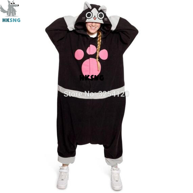 hksng unisex adult animal melynx kigurumi cartoon ellione airou airu cat pajamas onesies costumes jumpsuits christmas