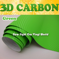 High Quality Green Carbon Fiber Car Wrap Apple Green 3D Carbon Fiber Vinyl Air Free Bubble Vehicle Decals Size:1.52*30m/Roll