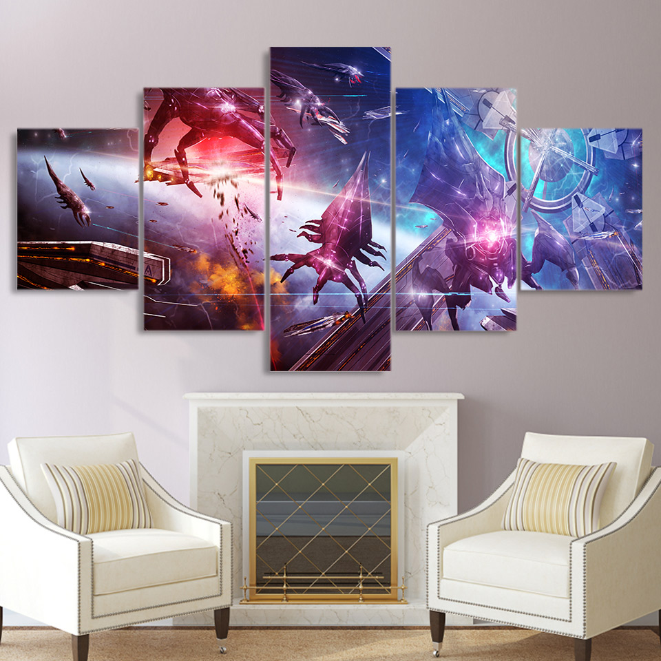 5 piece canvas painting Mass Effect game posters and prints wall picture for living room free shipping