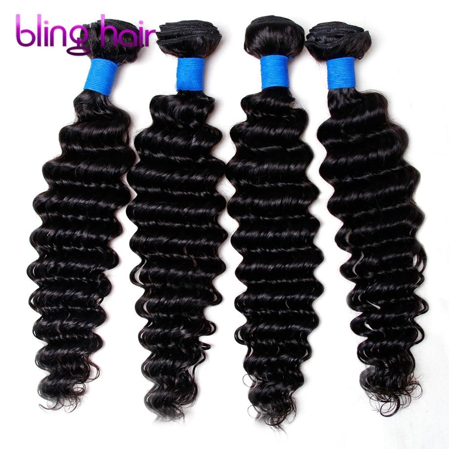 Bling hair Peruvian Deep wave 4 Bundles Nature Black Remy Human Hair For Salon Hair Extention Low Ratio Longest Hair PCT 15%