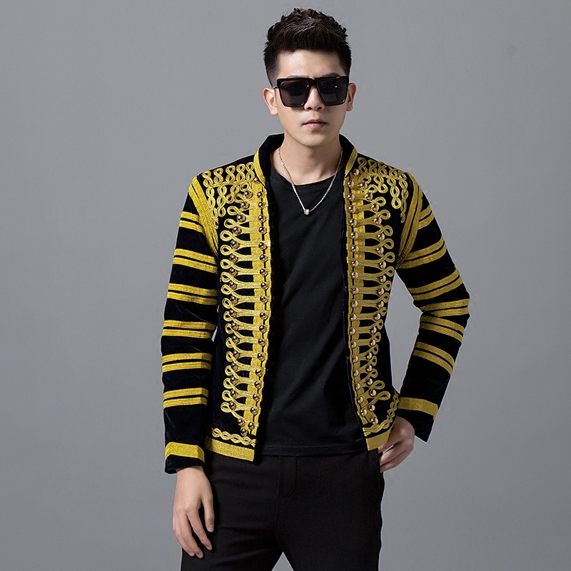 0ce9c56dbe Casual Palace Style Gold Embroidery Men s Slim Jacket Korean Version Coat  Male Singer Show Nightclub Dance
