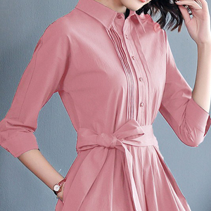 Image 4 - אופנה ורוד נשים של שמלות שרוך קשת גבירותיי Robe Femme קיץ חולצות שמלות אלגנטי Vestidos אישה משרד בגדים