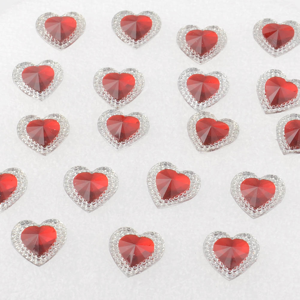 25 Jet Black 14 mm Love Heart Acrylic Rhinestone Gems Faceted Flatback Sew on