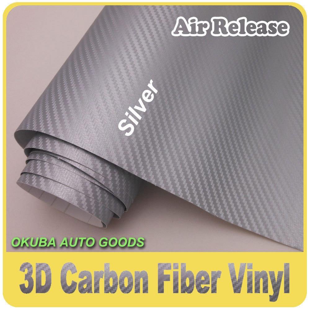 Excellent rouleau d'enveloppe d'autocollant de voiture de vinyle de Fiber de carbone 3D avec des canaux d'air FEDEX livraison gratuite taille: 1.52*30m épaisseur: 0.16mm