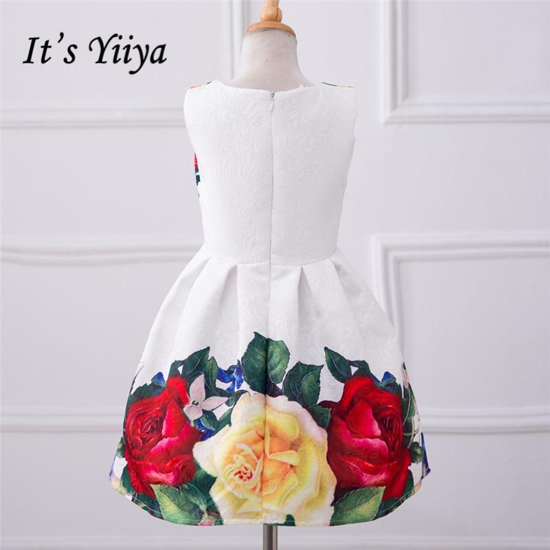It's YiiYa Real Picture White Sleeveless O-Neck Lace Big Rose Pattern Kids Princess   Flower     Girls     Dress   Communion   Dress   TS080