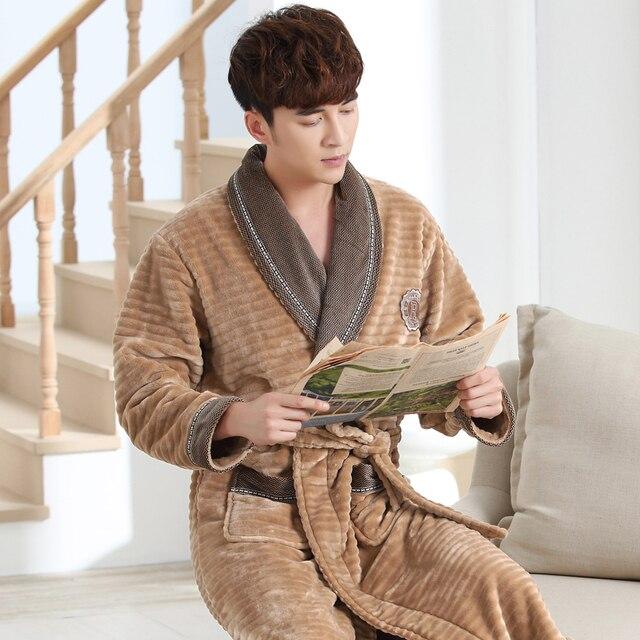 bbc75a1cf5 Mens Bathrobe 2017 New Style Thick Men Robes V Neck Mens Sexy Sleepwear  Winter Autumn Male
