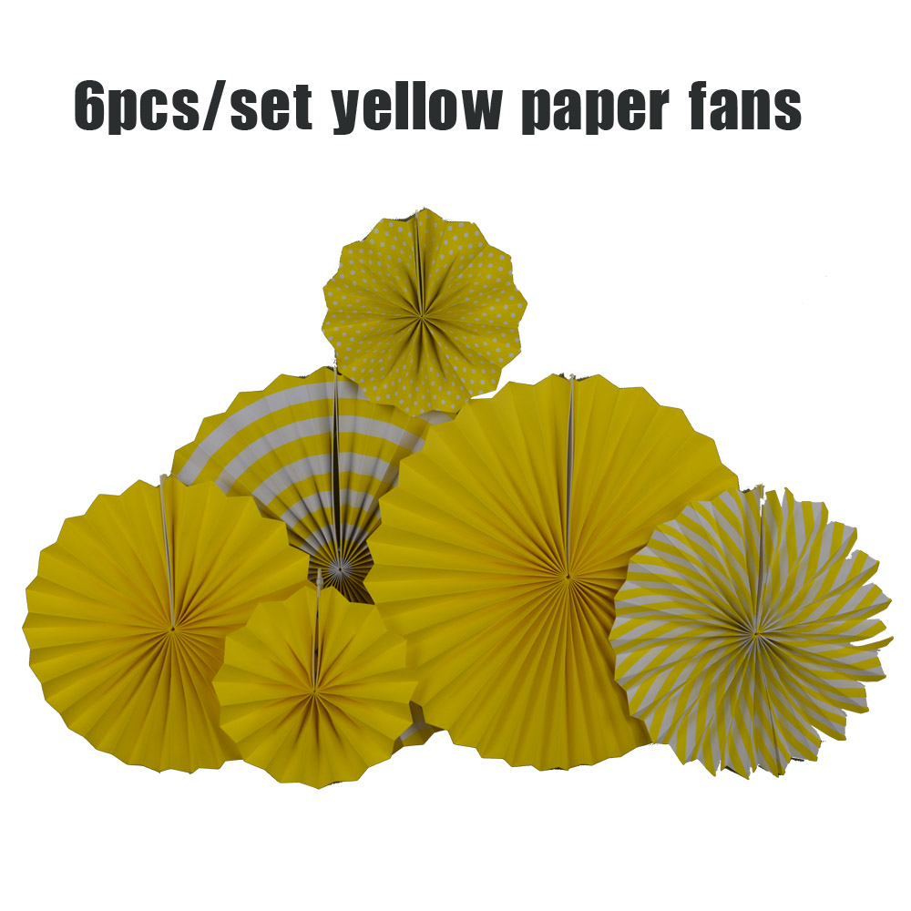 6pcs/Set Mixed Size Yellow Set Hanging Paper Fan For Kindergarten Back to School Kids Birthday Party Decoration Paper Craft