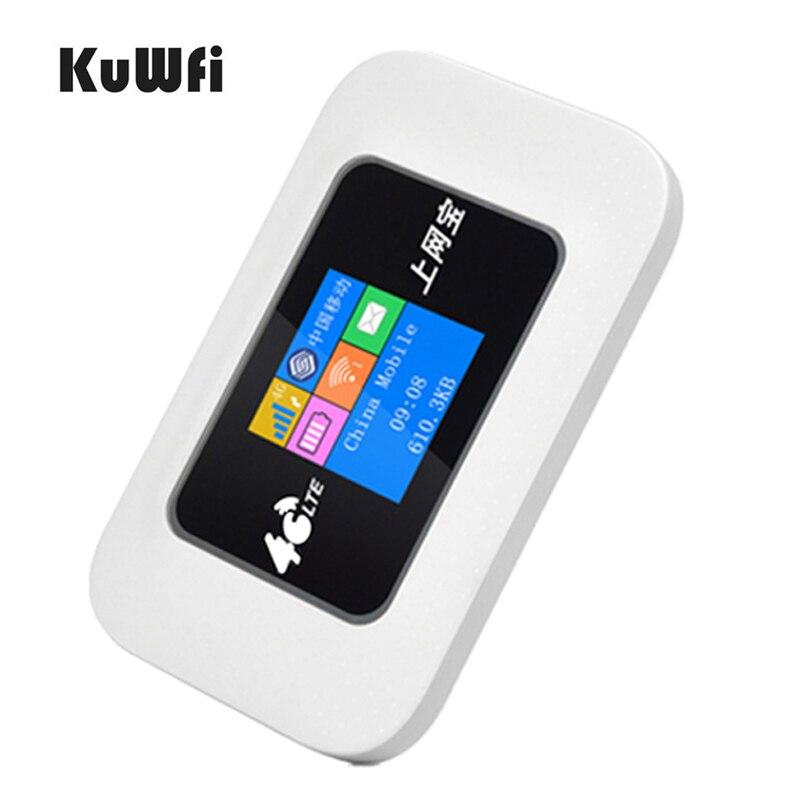 KuWfi Débloqué 4G LTE Wifi Routeur Voiture Mobile Wifi Hotspot Poche LTE Modem 2100 Batterie Voyage Mini Routeur avec Sim Card Slot