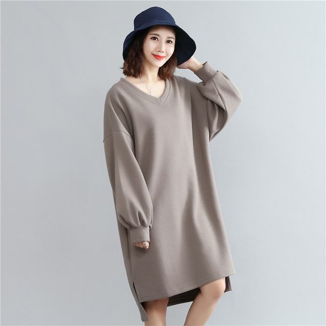 b898619923c27 2017 Autumn   winter Oversized T Shirt Dress Korean Style Solid Color V-neck  Long