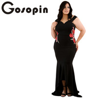 Gosopin Embroidery Roses Applique Plus Size Dress Maxi Sexy Black Tank V Neck Long Elegant Party