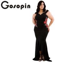 Gosopin Embroidery Roses Applique Plus Size Dress Maxi Sexy Black Tank V Neck Long Elegant Party