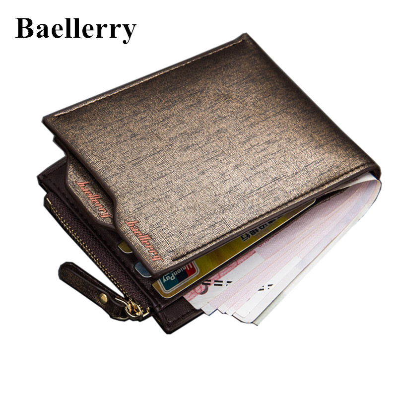 2016 New Fashion Men Wallets Bifold Wallet ID Card Holder Coin Purse Pockets Clutch With Zipper Men Wallet With Coin Bag