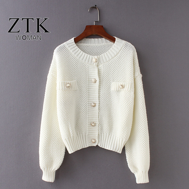 33b96065ecbe women Sweater With Buttons Long Sleeve solid white Knitted Cardigan ...