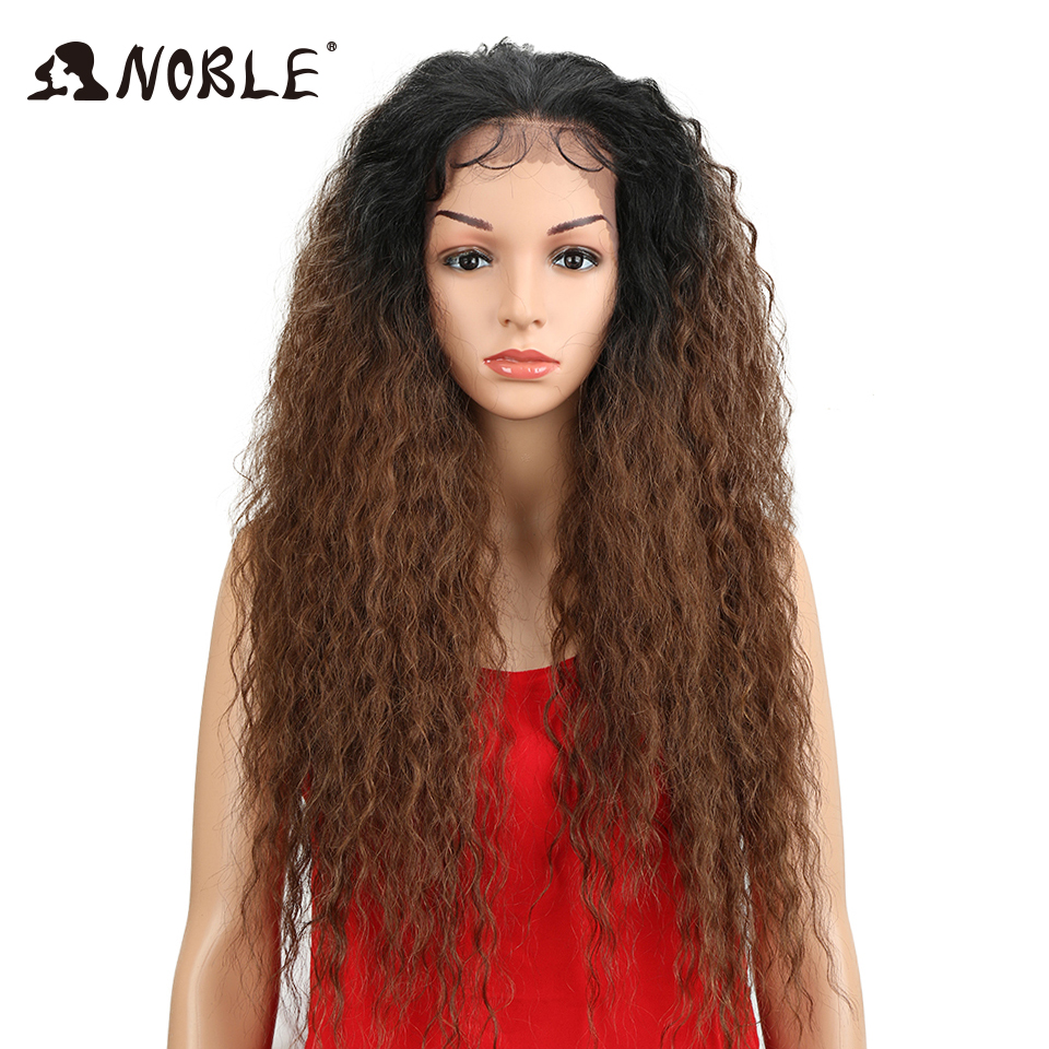 Noble Wigs For Black Women Natural Wave Lace Long 28 inch Brown Heat Resistant Fiber Free Part Large Synthetic Lace Front Wigs