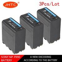 JHTC 3pc NP F990 NP F990 8800mAh Camera Battery For Sony Camcorder HXR MC1500C NEX EA50 DSR PD198P HVR Z7C NX3 5 LED Video Light