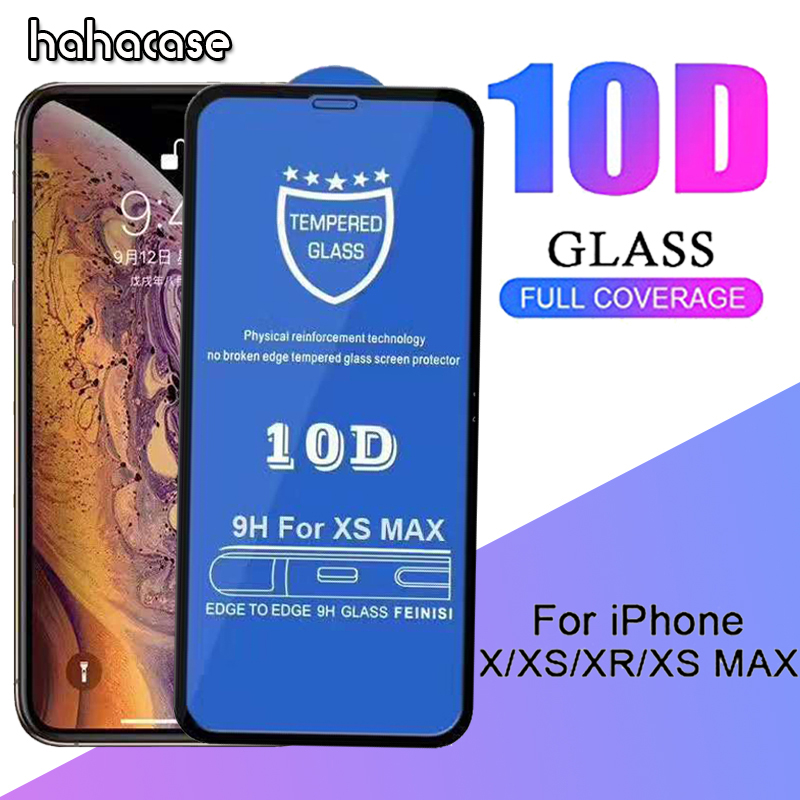 100pcs 10D Curved Full Coverage Tempered Glass Screen Protector For iPhone XS Max XR X 8
