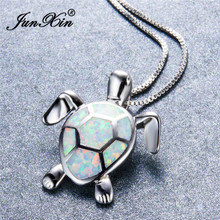 JUNXIN Cute Turtle Pendants Silver Color Animal Choker Mystic White Fire Opal Necklaces For Women Gifts For Lovers