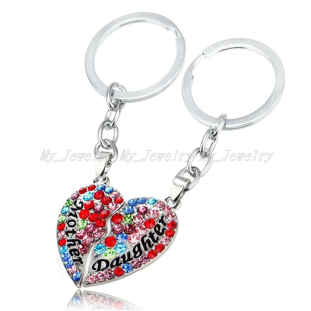 I LOVE YOU TO THE MOON AND BACK KEYRING Special Daughter Love Heart Gem Charm Sunflower